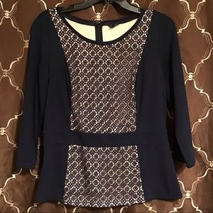 Ann Taylor Navy Blouse With Lace Overlay
